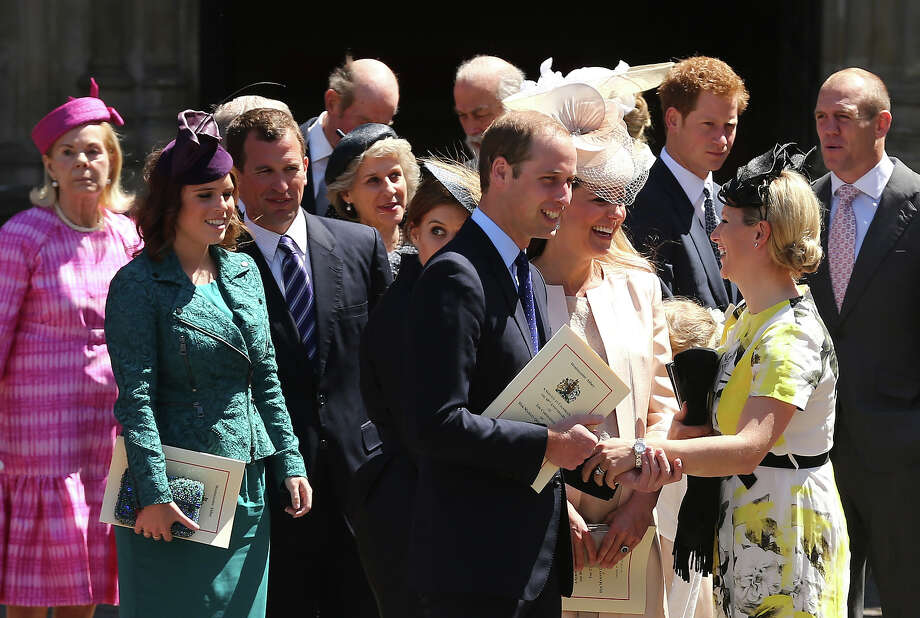 (L-R) Katharine, Duchess of Kent, Princess Eugenie, Peter Phillips, Prince Edward, Duke of Kent,  Princess Beatrice, Prince William, Duke of Cambridge, Catherine, Duchess of Cambridge, Zara Phillips, Prince Harry, Mike Tindall and The Dean of Westminster, The Very Reverend Dr John Hall leave a service of celebration to mark the 60th anniversary of the Coronation Queen Elizabeth II at Westminster Abbey on June 4, 2013 in London, England.  The Queen's Coronation took place on June 2, 1953 after a period of mourning for her father King George VI, following her ascension to the throne on February 6, 1952. The event 60 years ago was the first time a coronation was televised for the public. Photo: Dan Kitwood, Getty Images / 2013 Getty Images