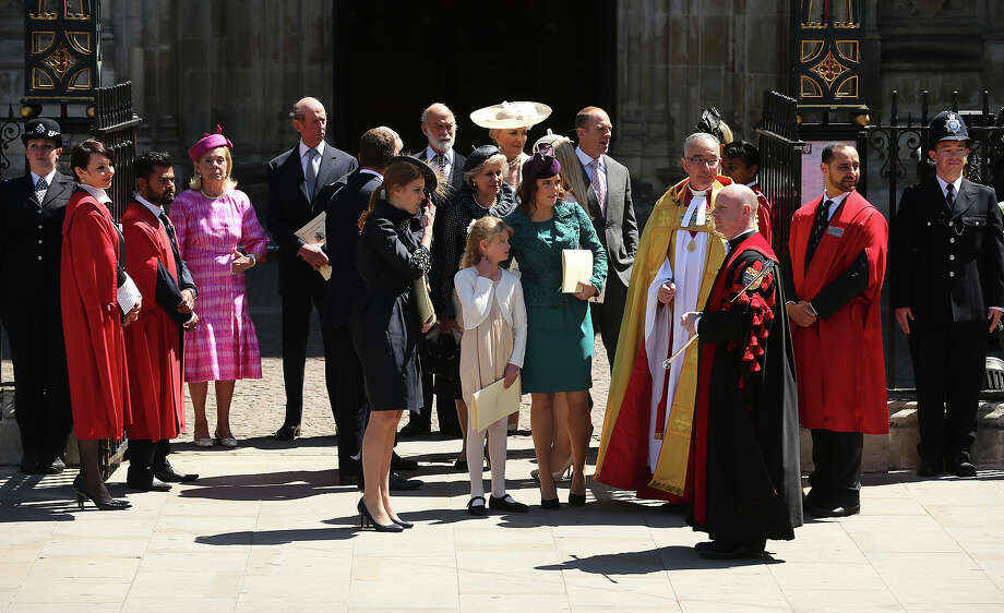 (L-R) Katharine, Duchess of Kent, Prince Edward, Duke of Kent, Peter Phillips, Princess Beatrice, Prince Michael of Kent, Princess Michael of Kent, Lady Louise Windsor, Princess Eugenie, Mike Tindall and The Dean of Westminster, The Very Reverend Dr John Hall leave a service of celebration to mark the 60th anniversary of the Coronation Queen Elizabeth II at Westminster Abbey on June 4, 2013 in London, England.  The Queen's Coronation took place on June 2, 1953 after a period of mourning for her father King George VI, following her ascension to the throne on February 6, 1952. The event 60 years ago was the first time a coronation was televised for the public. Photo: Dan Kitwood, Getty Images / 2013 Getty Images