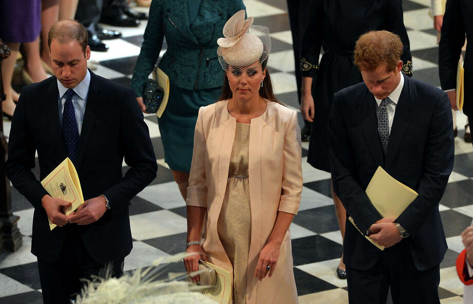 Prince William, Duke of Cambridge, Catherine, Duchess of Cambridge and Prince Harry leave Westminster Abbey following the service to celebrate the 60th anniversary of the Coronation of Queen Elizabeth II at Westminster Abbey, on June 4, 2013 in London, England. Photo: WPA Pool, Getty Images / 2013 Getty Images