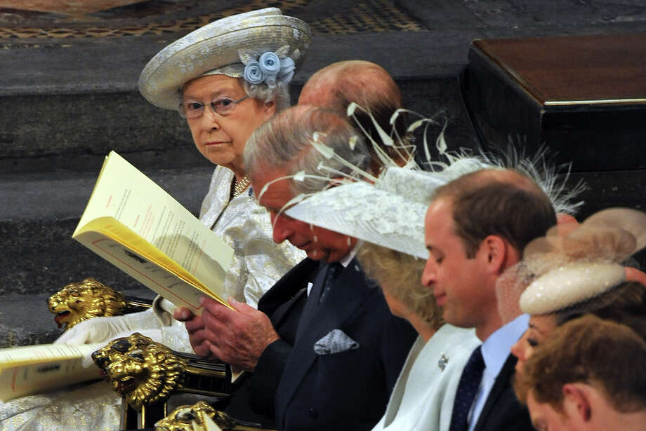 Queen Elizabeth II and members of the Royal family during the service to celebrate the 60th anniversary of the Coronation of Queen Elizabeth II at Westminster Abbey, on June 4, 2013 in London, England. Photo: WPA Pool, Getty Images / 2013 Getty Images