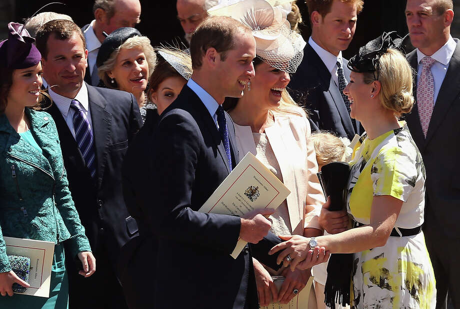 Members of the Royal family including Princess Eugenie, Peter Phillips, Prince William, Duke of Cambridge, Catherine, Duchess of Cambridge, Prince Harry, Mike Tindall and Zara Phillips leave a service of celebration to mark the 60th anniversary of the Coronation Queen Elizabeth II at Westminster Abbey on June 4, 2013 in London, England. The Queen's Coronation took place on June 2, 1953 after a period of mourning for her father King George VI, following her ascension to the throne on February 6, 1952. The event 60 years ago was the first time a coronation was televised for the public. Photo: Dan Kitwood, Getty Images / 2013 Getty Images