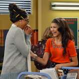 """SHAKE IT UP - """"My Fair Librarian It Up"""" - CeCe and Rocky help Miss Burke win over the heart of her crush, Mr. Zigfeld, while Logan, Ty and Deuce help Flynn build a soapbox car.  Guest starring Tyra Banks as Miss Burke, Alfonso Ribeiro as Mr. Zigfeld, Leo Howard as Logan and Carly Rae Jepsen as herself. Alfonso Ribeiro directs this episode of """"Shake It Up"""" airing on SUNDAY, FEBRUARY 24 9:00 PM - 9:30 PM ET/PT), on Disney Channel. (DISNEY CHANNEL/ERIC MCCANDLESS) TYRA BANKS, ZENDAYA"""