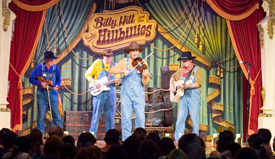 Billy Hill & The Hillbillies: This fiddlin' foursome will make you hoot, holler and laugh with their toe-tapping bluegrass music and a zany comedy revue. Catch them at the Golden Horseshoe in Disneyland's Frontierland. Photo: Disney