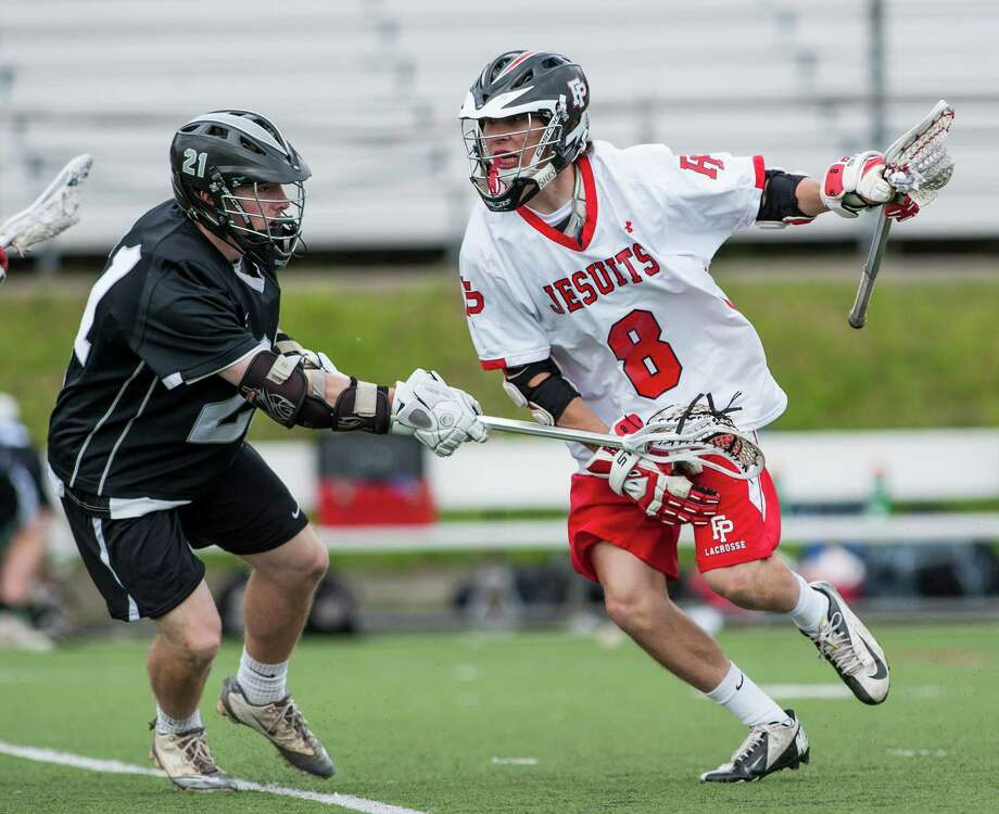 Fairfield Prep's David White, pictured in the team's May 13 game against Xavier, scored four goals in the Jesuits' 14-2 win over the Falcons on Saturday at Alumni Field. Photo: Mark Conrad / Connecticut Post Freelance