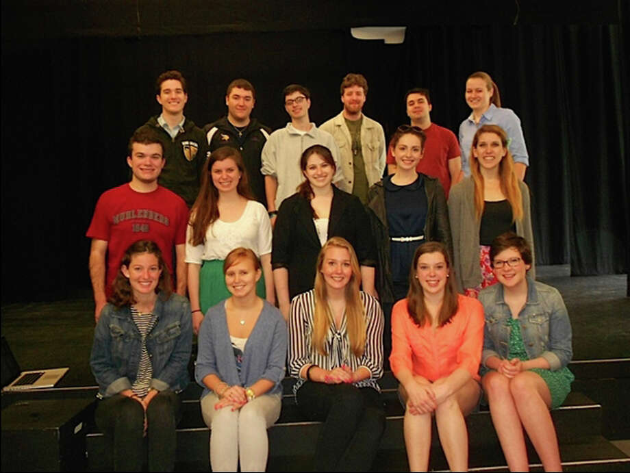 The interns spending the season with the Summer Theatre of New Canaan are, back row from left, Mike Griggs from Wake Forest; Daniel Bria, UConn; Josh Furth, Keene State; Chris Hanretty, Alfred University; Chad Yvon, Susquehanna University; and Jennifer Babcock, Northeastern. Middle row, Aran Clemmons, Muhlenberg; Jackie Winsch, University of Notre Dame; Zija Lubin-West, SUNY Fredonia; Allie Potenza, Boston Conservatory; and Stephanie Wasser, The Hartt School. Front row, Claire Thompson of New Canaan, Bard College; Daniela Sawyer, High Point University; Zoe Seavey, Salve Regina; Eileen Cannon, The Hartt School; and Becky Thorogood, Emerson College. Missing from photo, Matthew Dec, University of Delaware, and Sarah Dumilieu, ISIT- Paris. Photo: Contributed