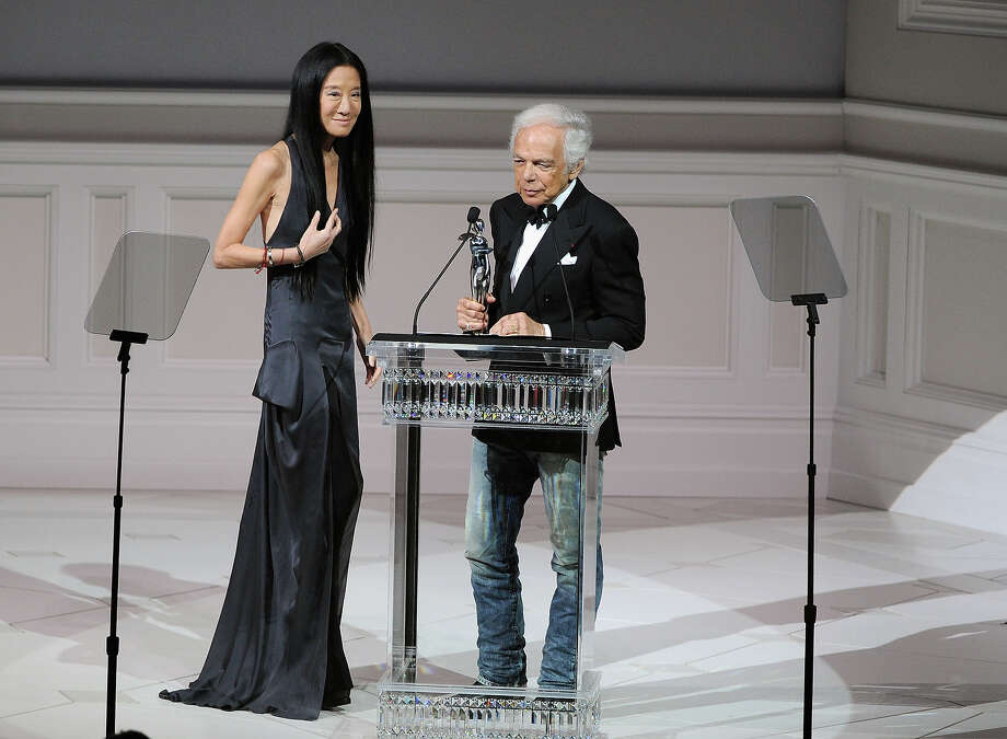 Each year, the Council of Fashion Designers of America gets together to throw 'fashion's biggest night,' the annual CFDA Fashion Awards show. Not only do they honor the nation's top designers and trend-setters, but they inadvertently highlight just how utterly absurd their industry is.Here's a look at the 2013 show.Above, Vera Wang receives a lifetime achievement award from Ralph Lauren. Photo: Bryan Bedder, Getty Images For Swarovski / 2013 Getty Images