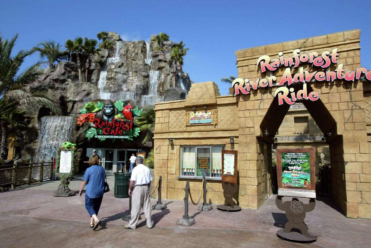 For business story - Rainforest Cafe, 53rd and Seawall Blvd., Galveston. Craig H. Hartley/Special to the Chronicle. HOUCHRON CAPTION (06/08/2003): The annual proxy statements that companies file with the Securities and Exchange Commission require them to disclose all manner of details related to their executives. This ranges from how much executives at ConocoPhillips and Burlington Resources use company jets for personal business to a side deal Landry's has with CEO Tilman Fertitta (NOT PICTURED), paying him rent for the land occupied by the new Rainforest Cafe in Galveston.