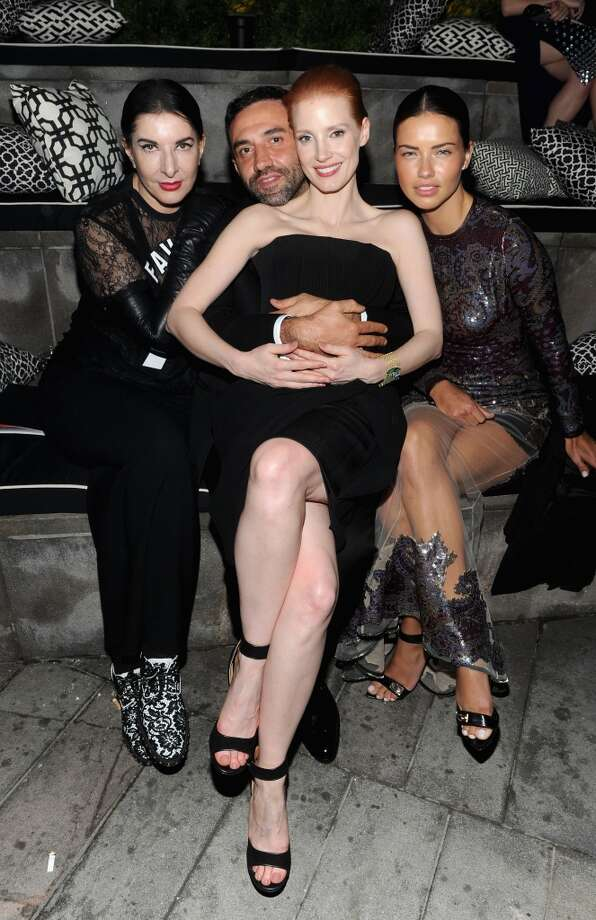 NEW YORK, NY - JUNE 03: (L-R) Marina Abramovic, Designer Riccardo Tisci, Actress Jessica Chastain, and Model Adriana Lima attend the 2013 CFDA Fashion Awards on June 3, 2013 in New York, United States.  (Photo by Jamie McCarthy/Getty Images)