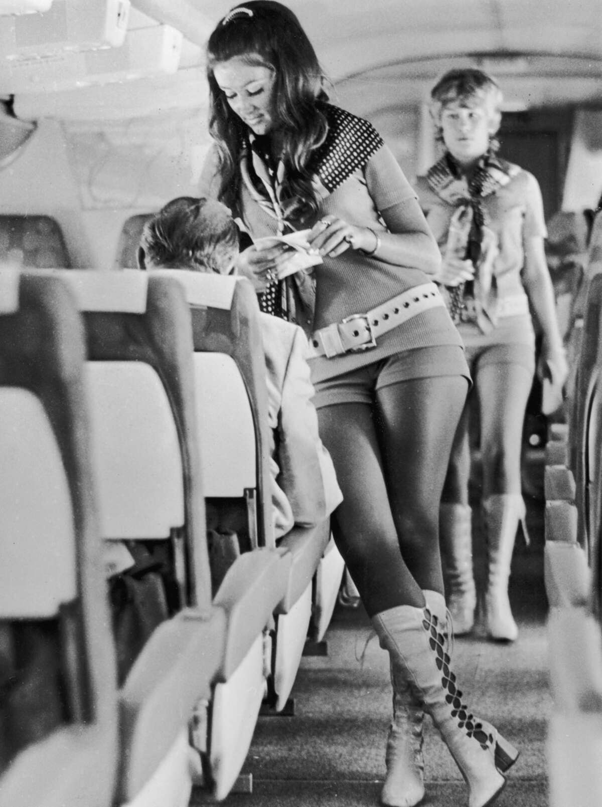 Flight attendantsworking for Southwest Airlines are pictured in 1972.The low-cost carrier that started when its founders drew a triangle connecting Dallas, Houston and San Antonio on a cocktail napkin and has evolved into one of the leading domestic carriers.