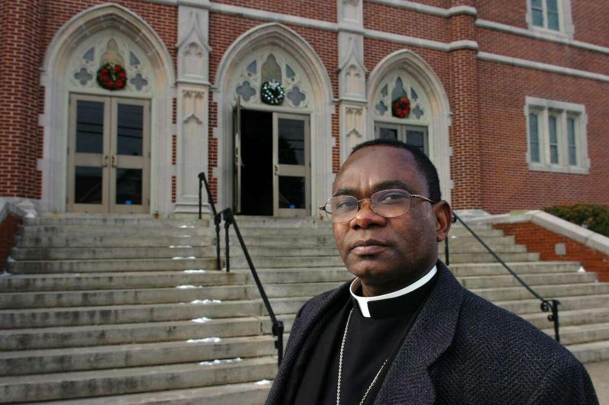 Father Churchill Penn at St. Charles Borromeo Church, in Bridgeport, Conn. Jan. 13th, 2010. A native of Haiti, Penn leads Hatian/Creole Mass at the church.