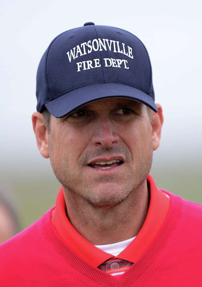 San Francisco 49ers head coach Jim Harbaugh is seen during the first round of the AT&T Pebble Beach National Pro-Am at the Monterey Peninsula Country Club on February 7, 2013 in Pebble Beach, California. Photo: Harry How, Getty Images / 2013 Getty Images