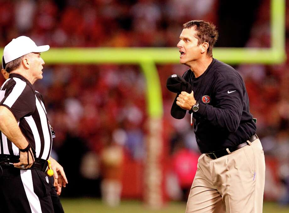 49ers coach Jim Harbaugh was outraged by a call by referee Walt Anderson in the fourth quarter. The San Francisco 49ers beat the Seattle Seahawks 13-6 in San Francisco, Calif at Candlestick Park, Photo: Brant Ward, The Chronicle / ONLINE_YES
