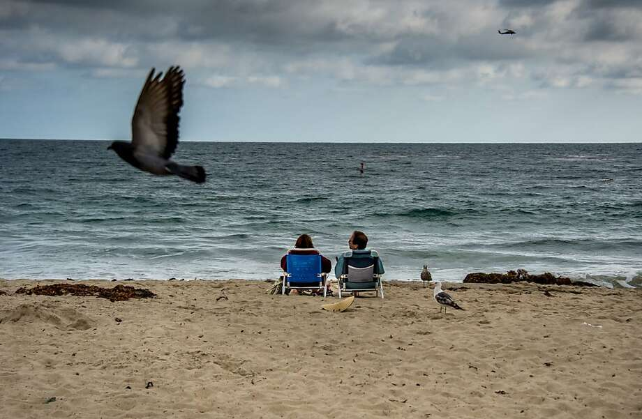 Ignoring the beggar gulls, a couple relaxes by the water's edge in the late afternoon at Laguna Beach, Calif. Photo: Joe Klamar, AFP/Getty Images