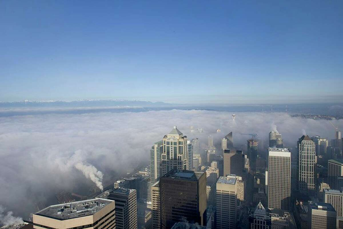 View of downtown Seattle and beyond from the Sky View Observatory at Columbia Center.