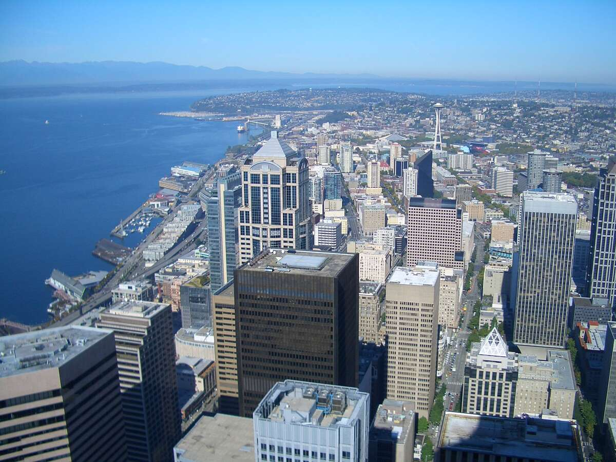 View of downtown Seattle from the Sky View Observatory at Columbia Center.