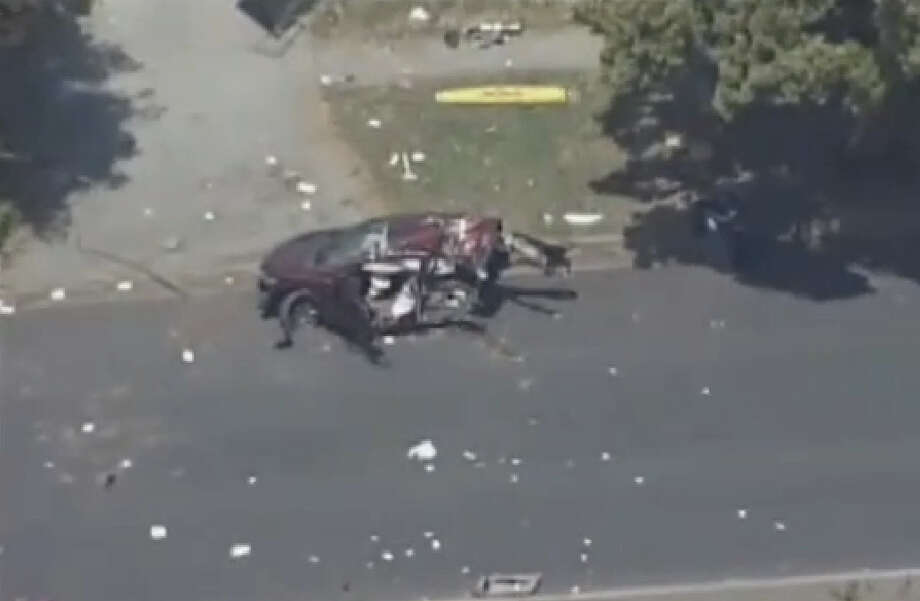 A toddler was killed in a horrific crash that also injured two adults in Fremont this afternoon, a police spokeswoman said. The crash occurred at about 12:50 p.m. on Paseo Padre Parkway between Chadbourne Drive and Dorne Place. Photo: CBS San Francisco