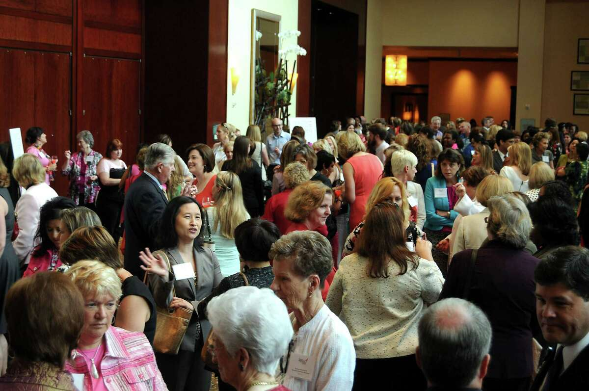 A crowded lobby at the Komen Luncheon at the Royal Sonesta Hotel Thursday May 30, 2013.(Dave Rossman photo)