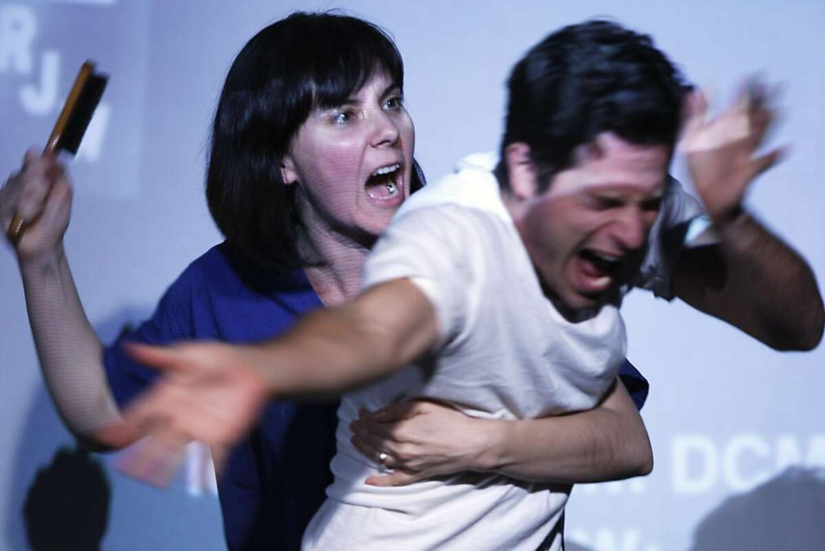 Jennifer Welch (left) and Paris Hunter Paul (right) as nurse Sotingco and Van Ingraham, respectively, in 'Headlock'; a theatrical adaptation of Ryan Gabrielson's exposŽ on protective services - Thursday, May 30, 2013 in San Francisco, Calif.