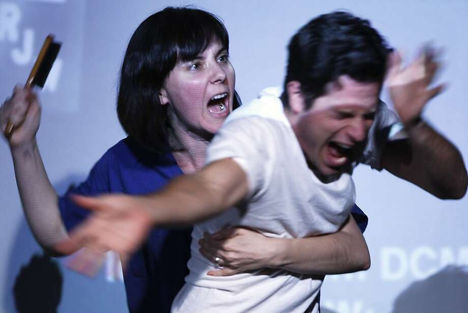 """Jennifer Welch as nurse Sotingco and Paris Hunter Paul as Van Ingraham in """"Headlock,"""" based on an investigative article. Photo: Rohan Smith, The Chronicle"""