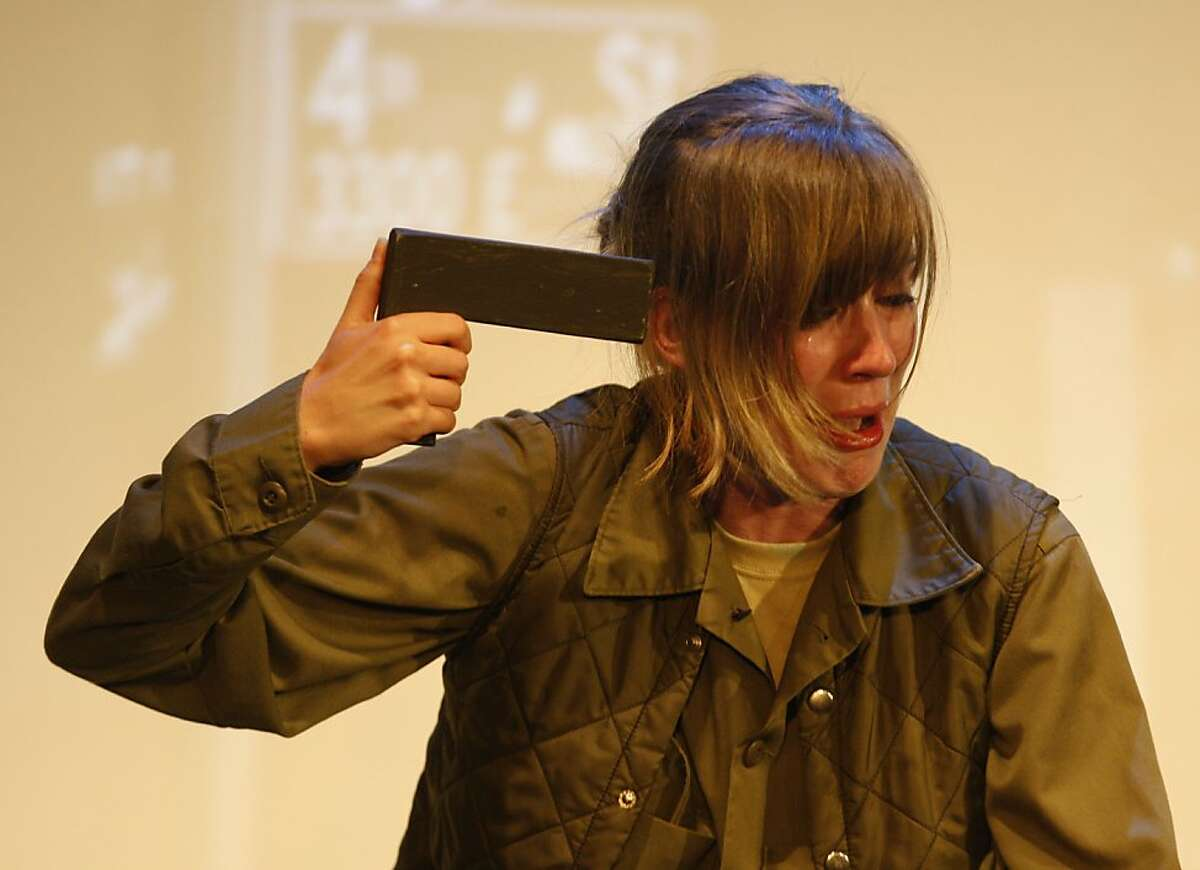 Sarah Moser as Officer Bedenko in 'A Guide to the Aftermath'; a theatrical adaptation of Mimi Chakarova's investigation into homeless female veterans - Thursday, May 30, 2013 in San Francisco, Calif.
