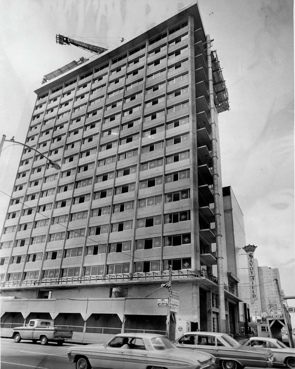 The 17-story addition to the Savoy Hotel, at the corner of Main and Pease, is shown under contruction in 1966.