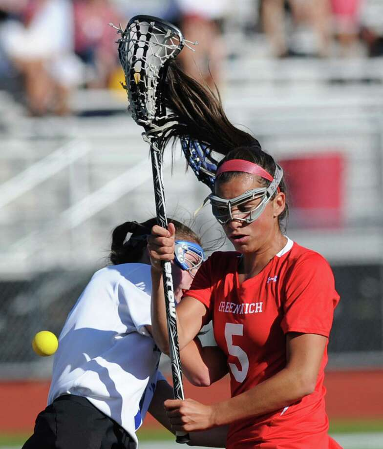 Emma Christie (# 5) of Greenwich goes for a loose ball during the Class L girls lacrosse semifinal match between Greenwich High School and Glastonbury High School at Cheshire High School, Tuesday evening, June 4, 2013. Greenwich advanced to the final with an 11-8 win over Glastonbury. Photo: Bob Luckey / Greenwich Time