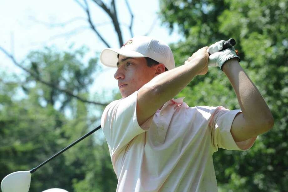 Paul Pastore shot a 72 to lead Greenwich in the Division I tournament on Tuesday. Photo: Helen Neafsey / Greenwich Time