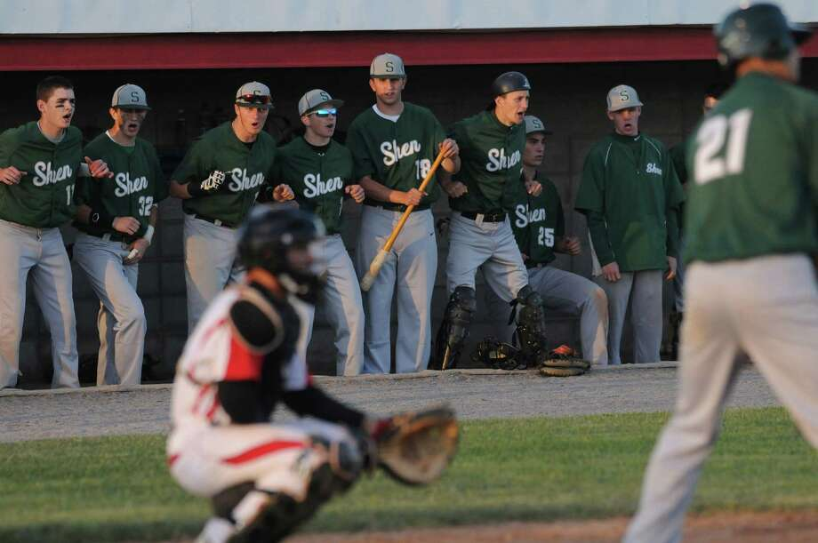 The Shenendehowa bench chant a rally cry from the dugout while Justin Yurchak is at bat against Baldwinsville in the third inning of their Class AA state quarterfinal game at DeLutis Field in Rome.  Mike Greenlar | mgreenlar@syracuse.com