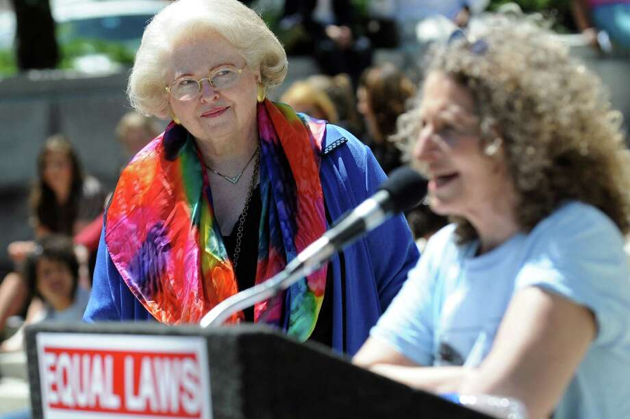 Sarah Weddington, attorney for Roe v. Wade, left, is introduced by Donna Lieberman, NYCLU president, during a rally in support of the Women's Equality Agenda on Tuesday, June 4, 2013, at West Capitol Park in Albany, N.Y. (Cindy Schultz / Times Union) Photo: Cindy Schultz / 00022650A
