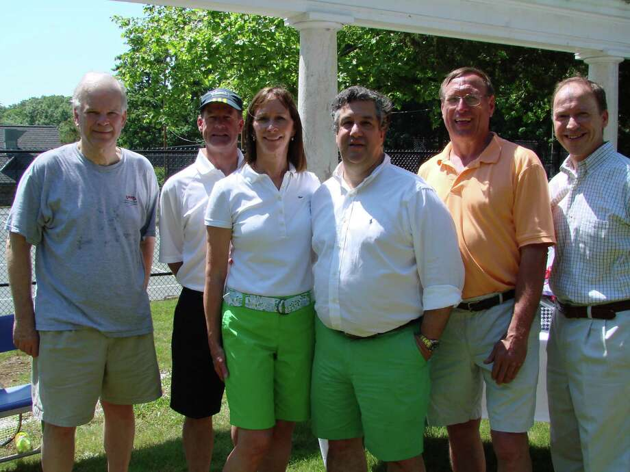 Town officials and donors at the Friends of Mead Park Tennis Courts ribbon cutting ceremony June 1. From left: Tom Stadler, John Stevenson, Sharon Stevenson, Rob Mallozzi, Steve Benko and Steve Karl. Photo: Contributed