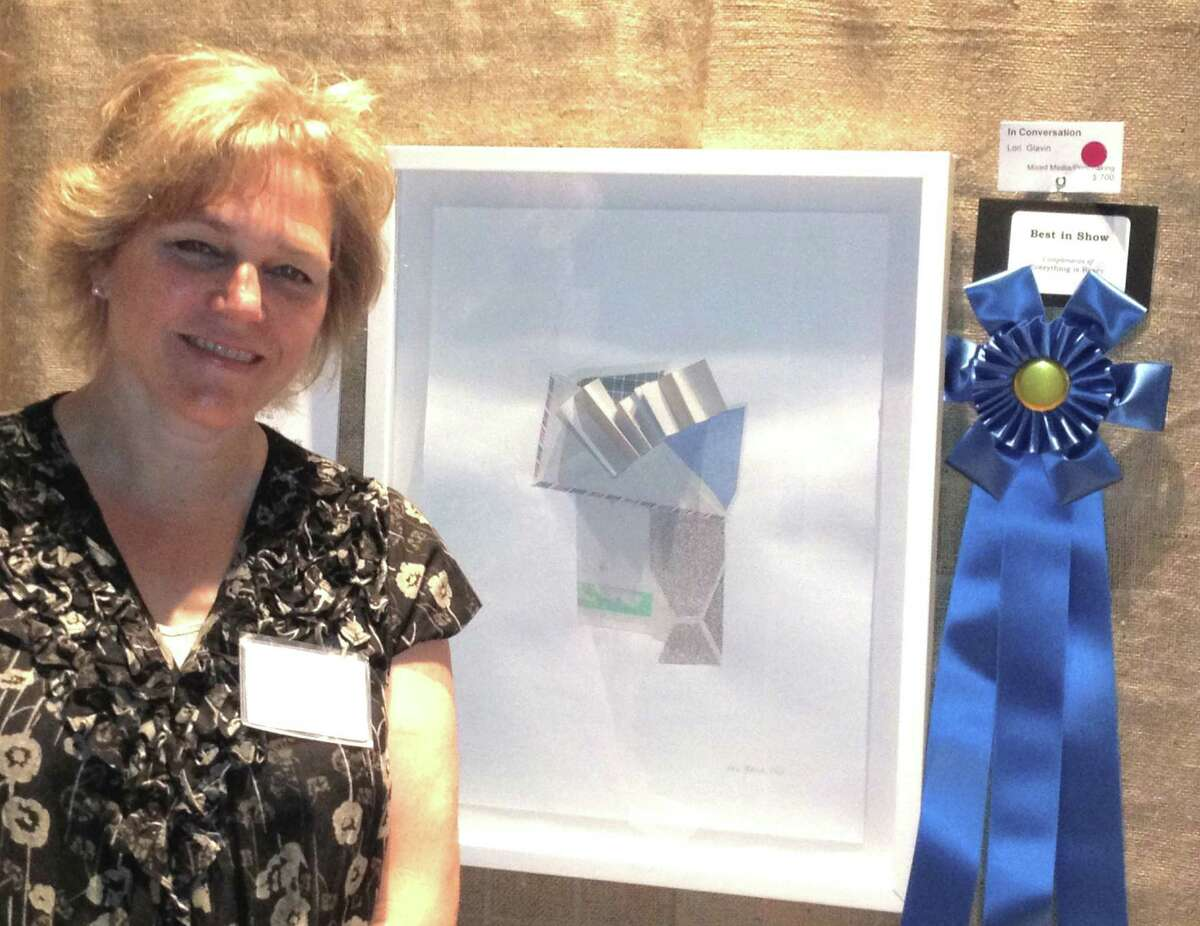 """Darien resident Lori Glavin won Best in Show for her work, """"In Conversation,"""" at the 55th annual Darien Arts Center Art Show and Sale."""