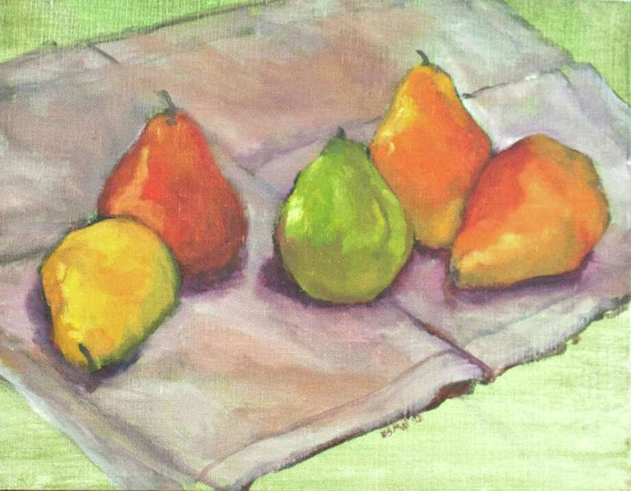 """Running from June 5- July 31, the Greenwich Historical Society will exhibit the work of  local artists Maria C. Friscia, Perry Robinson, MD and Margaret Esmé Simon in a Community Artists exhibition entitled """"Inheriting the Impressionist Tradition."""" Above is Simon's """"Five Pears,"""" Oil on Canvas Board. Photo: Contributed Photo"""