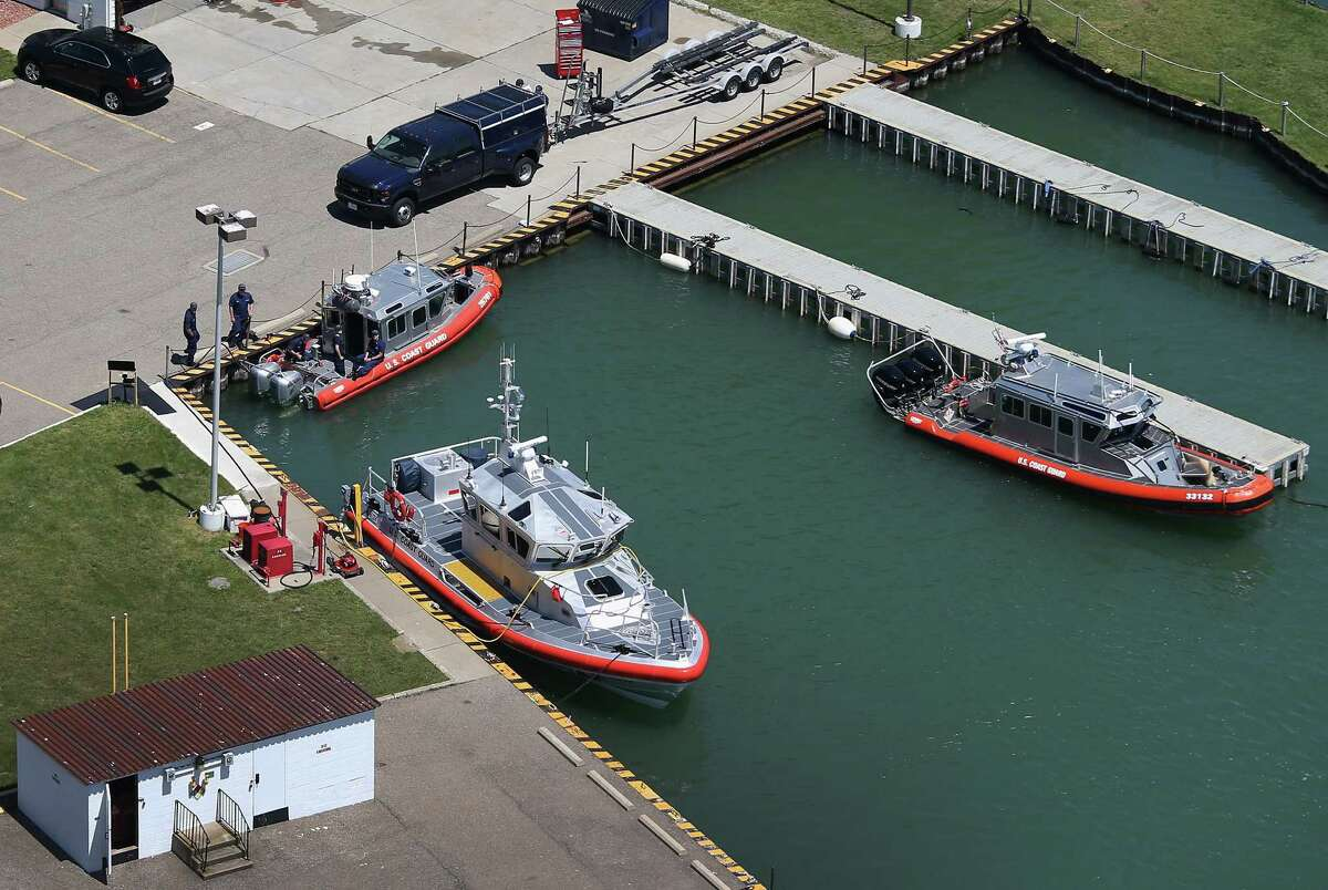 YOUNGSTOWN, NY - JUNE 04: U.S. Coast Guard ships are seen docked at the mouth of the Niagara River at Lake Ontario on June 4, 2013 near Youngstown, New York. The Coast Guard patrols a long stretch of the border between the United States and Canada. The aerial view was seen from a helicopter flown by the U.S. Office of Air and Marine, (OAM), which monitors and patrols the U.S. northern border with Canana.