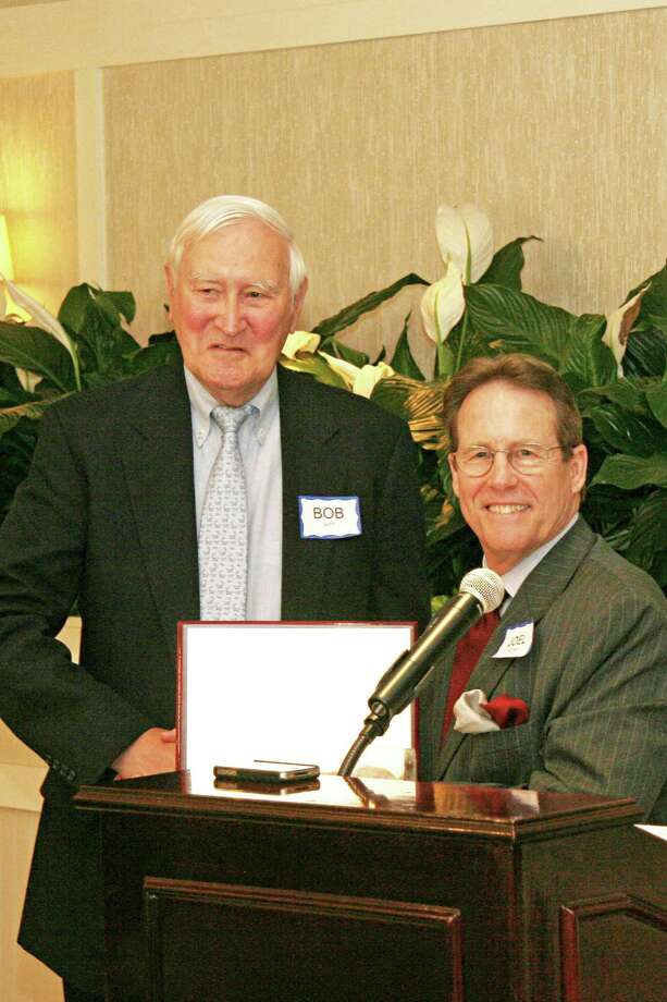 Robert F. Witt receiving the Distinguished Senior Man Award from President S. Joel Pelzner at the Senior Menís Club of New Canaan Annual Meeting and Luncheon. Photo: Contributed