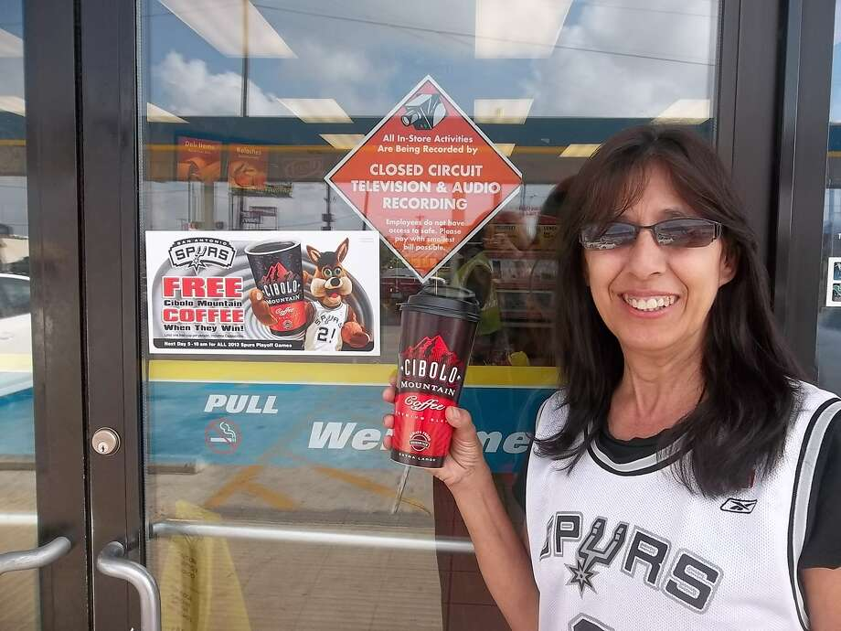 Free coffee again, thanks Spurs for WINNING    GO! SPURS GO! Photo: Courtesy