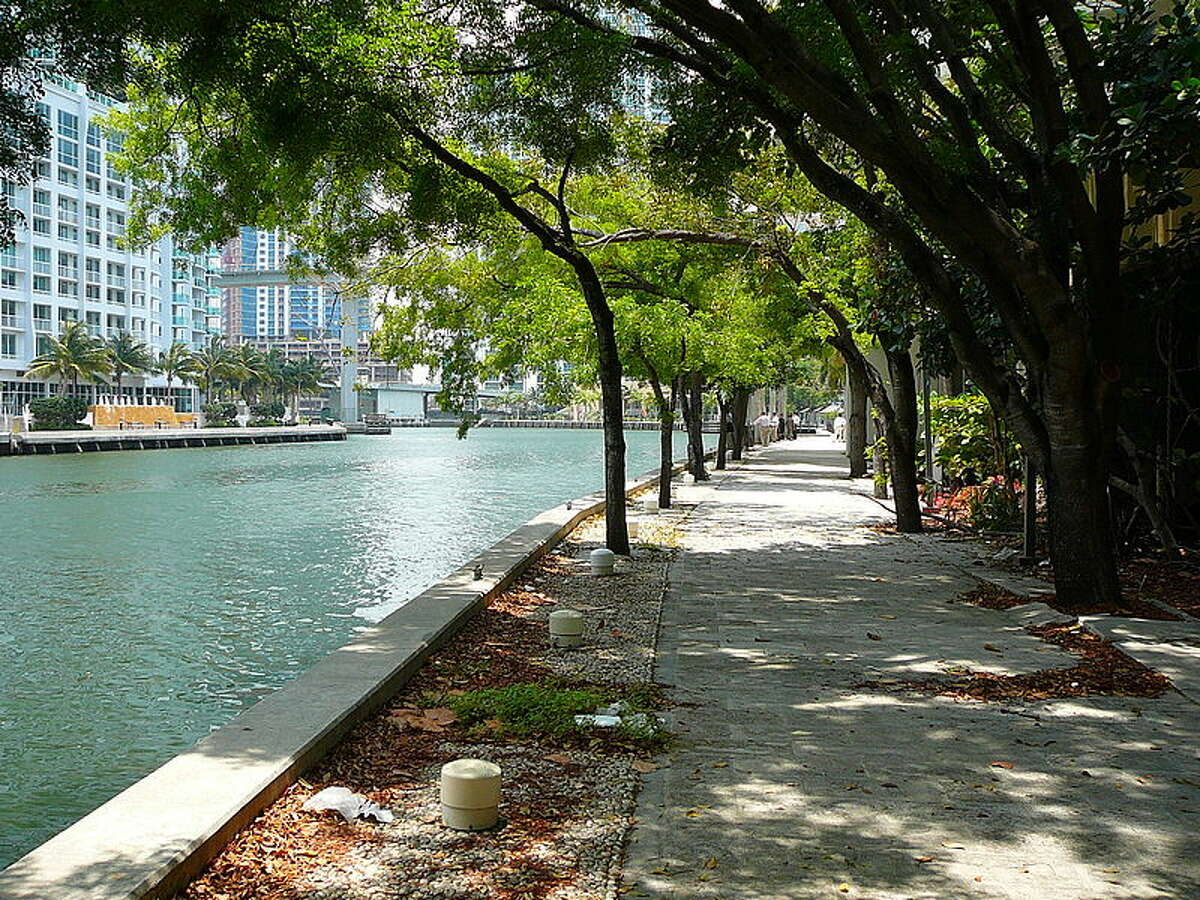 Along the Miami River and the Biscanye Bay, pedestrians can stroll along the Miami Riverwalk. Running through Bayfront Park, the walkway is the location of the Miami Riverwalk Festival, which was started in 2008 and takes place in November. The path is approximately one mile long.