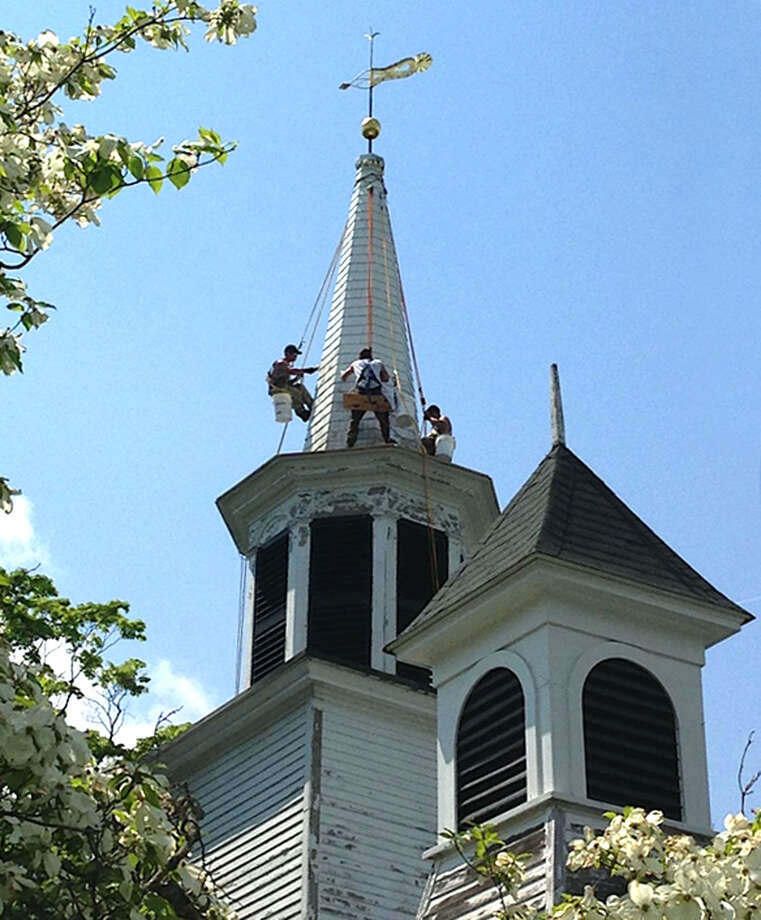 Repairs have been proceeding in recent weeks on the steeple at the venerable Bridgewater Congregational Church in the village center.  Courtesy of Dennis MacDonald Photo: Contributed Photo