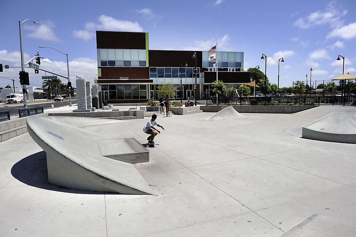 A small skatepark sits in front of the newly opened and Alameda County funded Ashland Youth Center in San Leandro, CA on Wednesday May 29th, 2013.