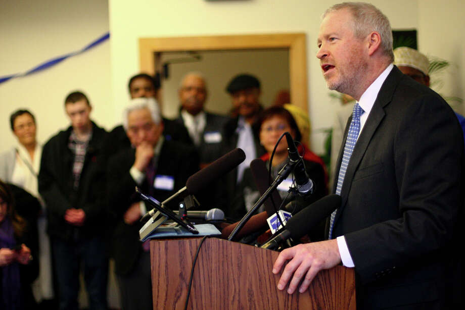 Seattle Mayor Mike McGinn announces he will seek a second term on Wednesday, January 9, 2013 at the Filipino Community Center on Martin Luther King Jr. Way South. Photo: JOSHUA TRUJILLO, SEATTLEPI.COM / SEATTLEPI.COM