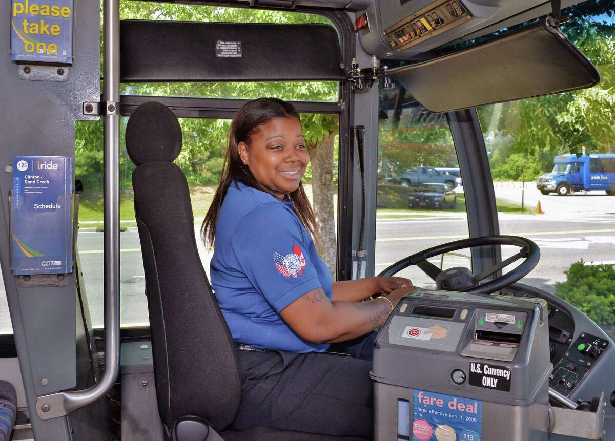 Bus driver Amber Selyn of Schenectady competes in the Championship CDTA Roadeo at the Crossgates Mall parking lot in Albany, NY, Wednesday June 5, 2013. (John Carl D'Annibale / Times Union)