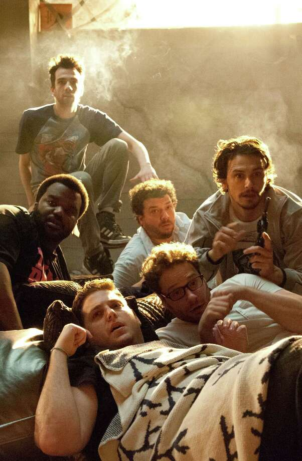 "Craig Robinson (clockwise from top left), Danny McBride, James Franco, Seth Rogen and Jonah Hill star in ""This Is the End."" Photo: Columbia Pictures"