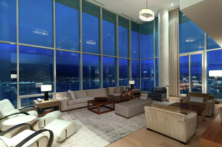 Living room of Penthouse One at The Fairmont Estates Pacific Rim, 1011 W.Cordova St., in Vancouver, B.C. The 6,459-square-foot, two level condo just sold for a record $25 million. Photo: Stacy Thomas,  Courtesy Malcolm Hasman