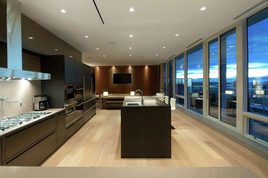 Kitchen of Penthouse One at The Fairmont Estates Pacific Rim, 1011 W.Cordova St., in Vancouver, B.C. The 6,459-square-foot, two level condo just sold for a record $25 million. Photo: Stacy Thomas,  Courtesy Malcolm Hasman