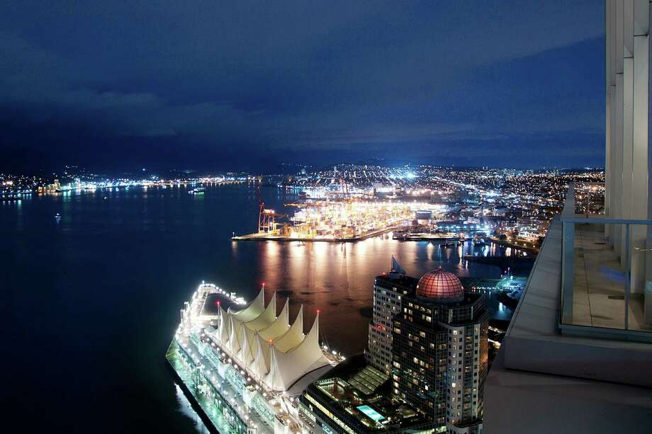 View from Penthouse One at The Fairmont Estates Pacific Rim, 1011 W.Cordova St., in Vancouver, B.C. The 6,459-square-foot, two level condo just sold for a record $25 million. Photo: Stacy Thomas,  Courtesy Malcolm Hasman