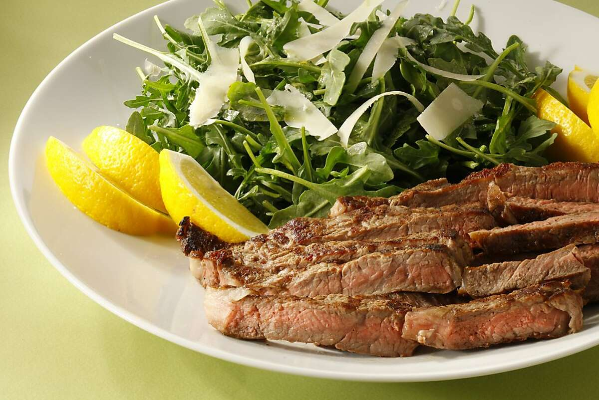 Grilled Florentine Steak with Arugula Salad, styled by Amanda Gold.