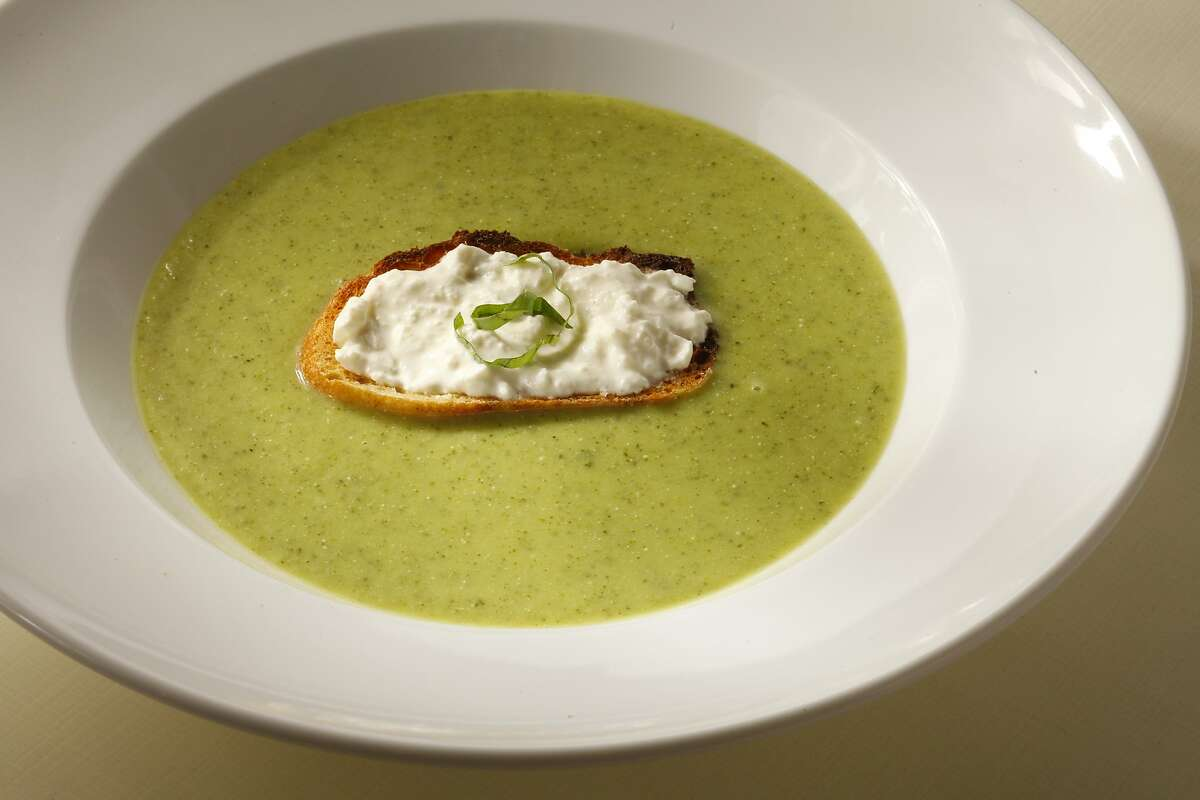 Basil zucchini soup with cheese toast as seen in San Francisco, California, on May 29, 2013. Food styled by Amanda Gold.