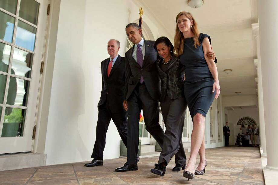 President Barack Obama walks with, from left, resigning National Security Adviser Tom Donilon, U.N. Ambassador Susan Rice - his choice to succeed Donilon - and Samantha Power, nominated to replace Rice. Photo: Evan Vucci, STF / AP