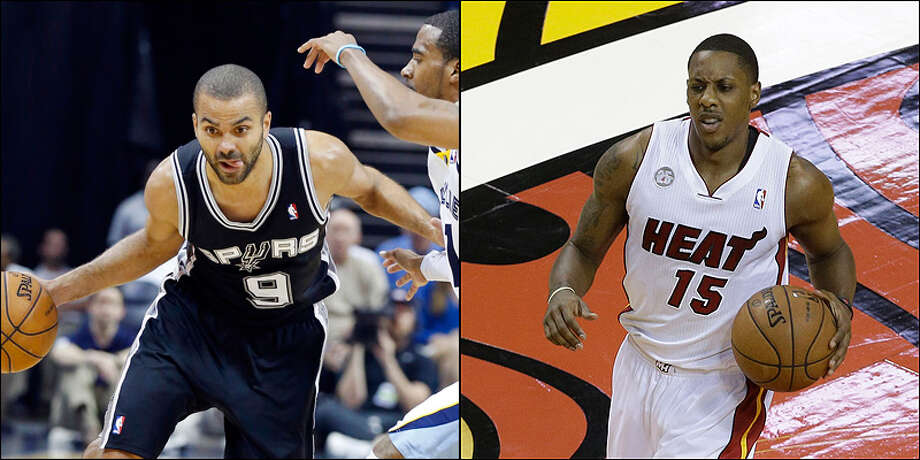 Point guard: Spurs' Tony Parker vs. Heat's Mario Chalmers.Photos by Edward A. Ornelas / San Antonio Express-News and Wilfredo Lee / Associated Press / © 2013 San Antonio Express-News