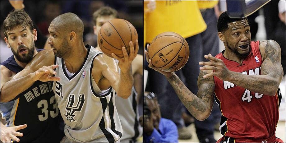 Power forward: Spurs' Tim Duncan vs. Heat's Udonis Haslem.Photos by Kin Man Hui / San Antonio Express-News and AJ Mast / Associated Press / © 2013 San Antonio Express-News