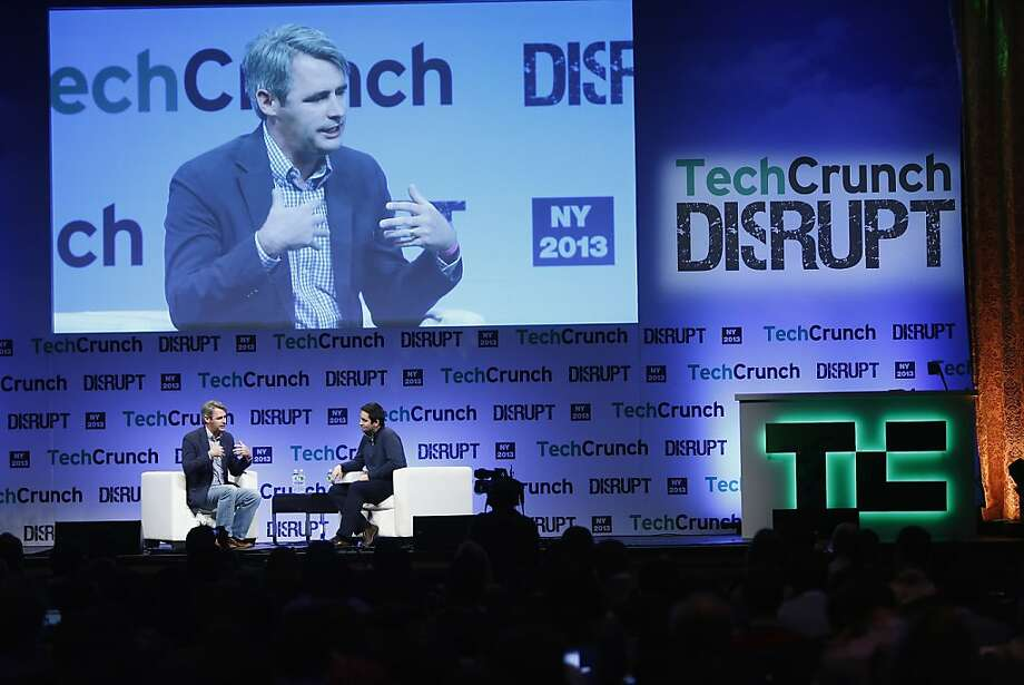 Mike McCue (left and on big screen), founder and chief executive officer of the social magazine app Flipboard, speaks to Eric Eldon at TechCrunch Disrupt NY 2013 in New York in April. Photo: Brian Ach